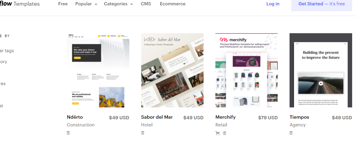 blog templates available under the CMS filter