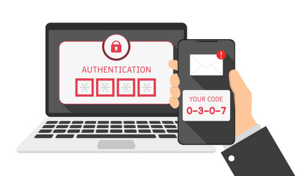 devices laptop and phone, SMS authentication code, flat