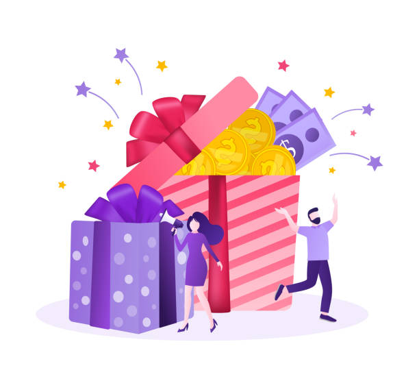 Online reward Vector flat design. Flat isometric vector illustration. Group of happy people receive a gift box illustration concept