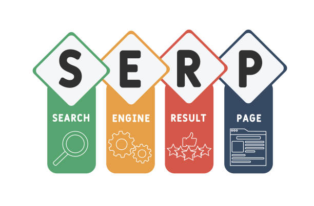 SERP - Search Engine Result Page acronym  business concept background. vector illustration concept with keywords and icons. lettering illustration with icons for web banner, flyer, landing page